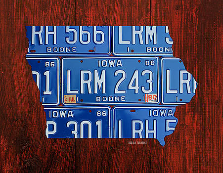Design Turnpike - Iowa State License Plate Map Art