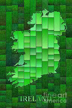 Ireland Map Glasa in Green with Ireland text by Eleven Corners