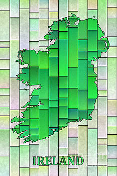 Ireland Map Glasa in Pale Green with Ireland text by Eleven Corners