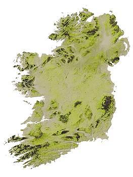 Ireland Terrain Map - Emerald by Ian Grasshoff