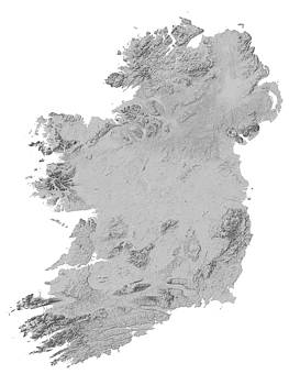 Ireland Terrain Map - Gray by Ian Grasshoff