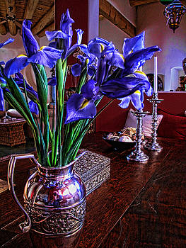 Iris in Silver Pitcher by Paul Cutright