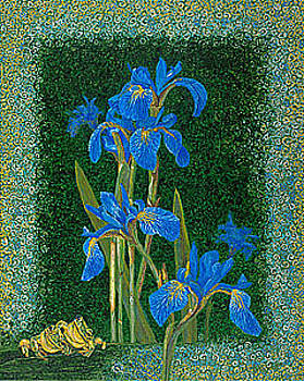 Baslee Troutman - Irises Blue Flowers Lucky Love Frog Friends fine art print giclee High Quality Exceptional Colors