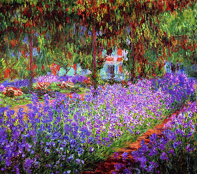 Irises In Monet's Garden At Giverny by Claude Monet
