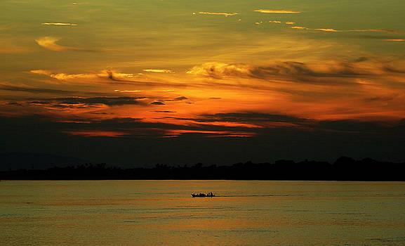 Irrawaddy River Sunset, Myanmar by Kurt Van Wagner