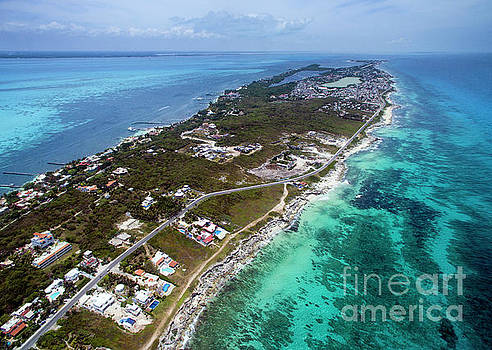 Isla Mujeres Caribe Side - Aerial View by David Daniel