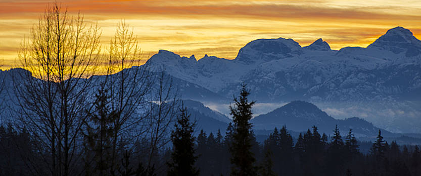 Island Mountains Sunset by Kathy Paynter