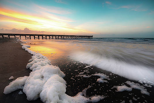 Isle of Palms Pier Sunrise and Sea Foam by Donnie Whitaker