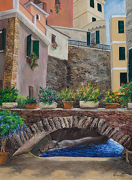 Charlotte Blanchard - Italian Arched Bridge With Flower Pots