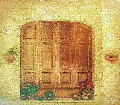 Italian Doors Painting by Jan Hagan