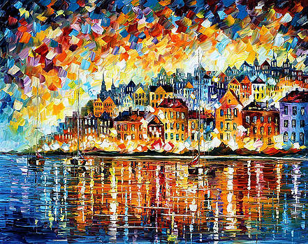 Italian Harbor - PALETTE KNIFE Oil Painting On Canvas By Leonid Afremov by Leonid Afremov