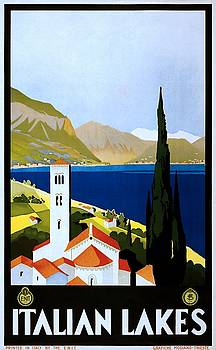 Italian Lakes, travel poster for ENIT, ca. 1930 by Vintage Printery
