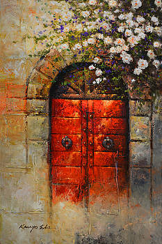 Italian Red Door from Tuscany with white rosebush by Kanayo Ede