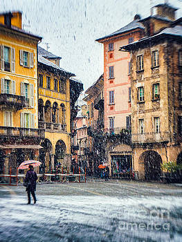 Italian square on a snowy day by Silvia Ganora