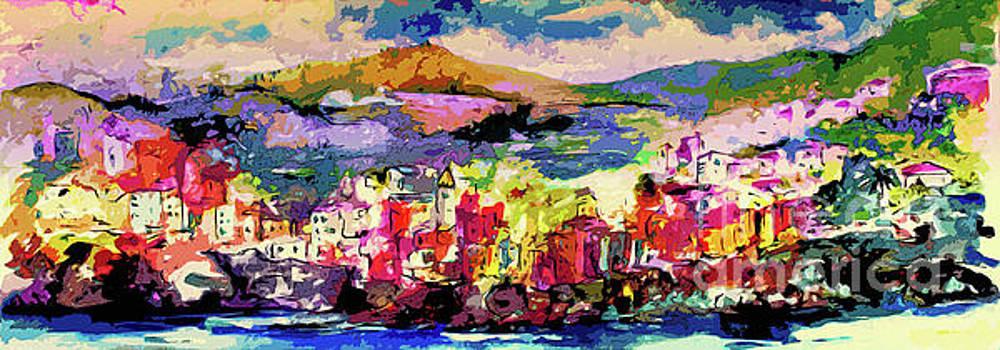 Ginette Callaway - Italy Cinque Terre Riomaggiore Evening Light Modern Abstract