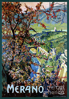 Italy Merano Meran Restored Vintage Travel Poster by Carsten Reisinger