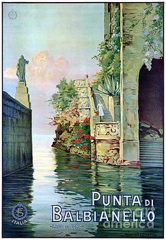 Italy Punta di Balbianello Restored Vintage Poster by Carsten Reisinger
