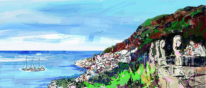 Italy Ravello Villa Cimbrone Digital Painting by Ginette Callaway