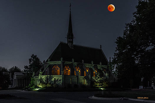 Ivy Chapel Under the Blood Moon by Stephen  Johnson