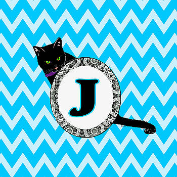J Cat Chevron Monogram by Paintings by Gretzky