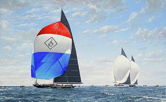 J Class Racing Yachts Velsheda, Ranger and Lionheart by Mark Woollacott