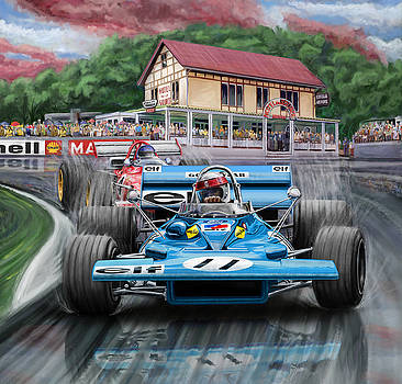 Jackie Stewart at Spa in the Rain by David Kyte