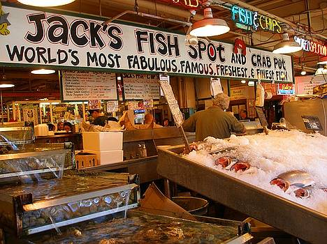 Jacks Fish Spot And Crab Pot-seattle Pike Place Market by Candace Garcia