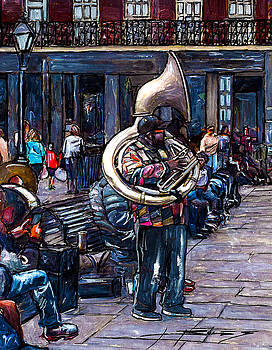 Jackson Square Bass Horn Player by John Boles