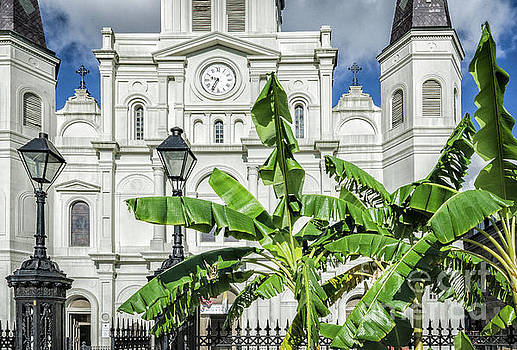 Kathleen K Parker - Jackson Square - Cathedral and Banana Trees