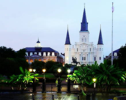 Jackson Square Glistening at Dawn by Walter E Koopmann