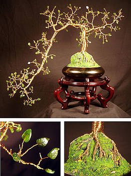Jade Cascade  No.1 - Bonsai Wire Tree Sculpture  by Sal Villano
