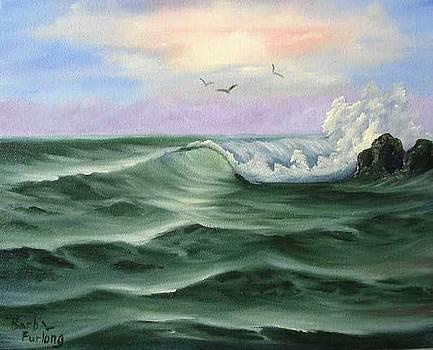 Jade Sea seascape oil painting by Barbara Furlong