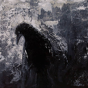 JADED Original Raven Painting Black and White Crow Art by Gray  Artus