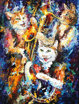Jamming Cats 2 - PALETTE KNIFE Oil Painting On Canvas By Leonid Afremov by Leonid Afremov