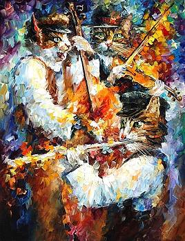 Jamming Cats 3 - PALETTE KNIFE Oil Painting On Canvas By Leonid Afremov by Leonid Afremov