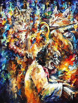Jamming Cats 4 - PALETTE KNIFE Oil Painting On Canvas By Leonid Afremov by Leonid Afremov