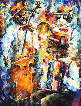 Jamming Cats - PALETTE KNIFE Oil Painting On Canvas By Leonid Afremov by Leonid Afremov
