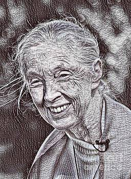 Jane Goodall Drawing by Pd