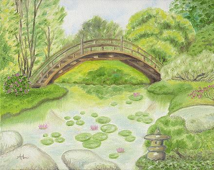 japanese garden bridge by annamarie lombardo