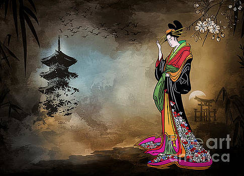 Japanese girl with a landscape in the background. by Andrzej Szczerski