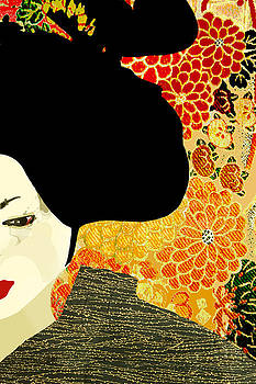 Geisha Or Woman In A Japanese Kimono With Chrysanthemums  by Suzanne Powers