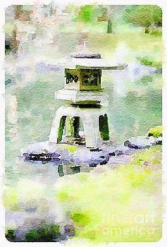 Japanese Lantern in Zen Garden by Rich Governali