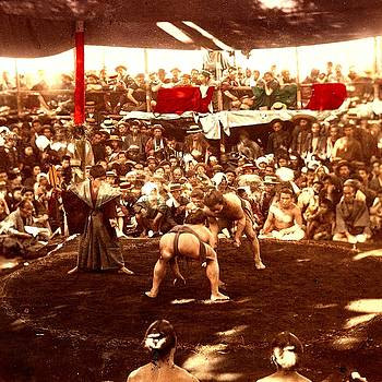 Rare circa 1880 photograph of a public sumo wrestling match in japan by Peter Gumaer Ogden