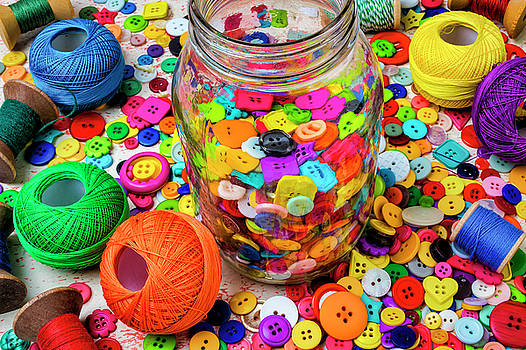 Jar Of Buttons Still Life by Garry Gay
