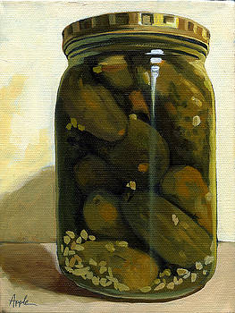 JAR of GARLIC DILL PICKLES - still life oil painting by Linda Apple