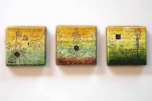 Jardin de Victoire Miniature Triptych by Rowena Finn