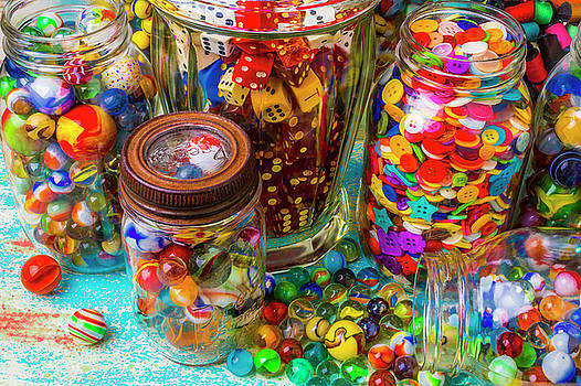Jars Full Of Marbles Dice With Buttons by Garry Gay