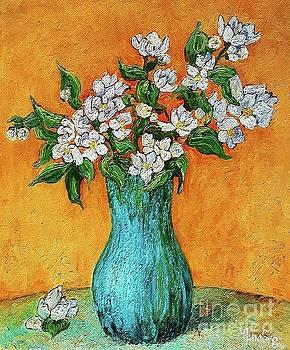 Jasmine flowers in a blue pot by Amalia Suruceanu
