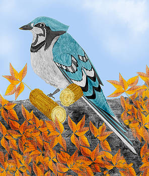 Jay with Corn and Leaves by Anne Norskog