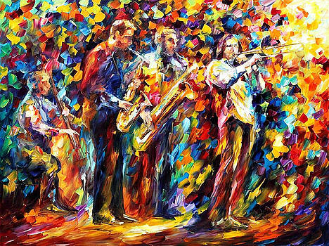 Jazz Band - PALETTE KNIFE Oil Painting On Canvas By Leonid Afremov by Leonid Afremov